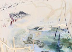 Broken fence by Araminta Blue contemporary artwork painting