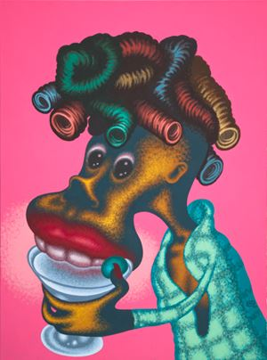 Woman Drinking Martini by Peter Saul contemporary artwork