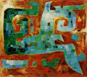 Revelation of Bronze – Green Mosaic by Pang Tao contemporary artwork painting