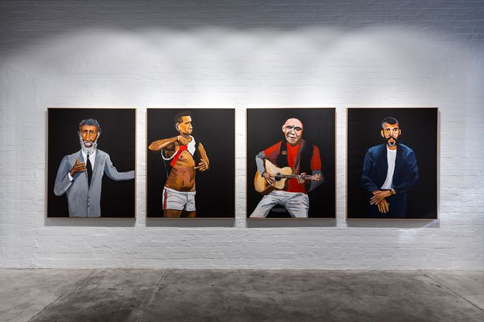 Exhibition view: Vincent Namatjira, Legends, THIS IS NO FANTASY nicola stein + dianne tanzer gallery (27 July–18 August 2018). Courtesy THIS IS NO FANTASY nicola stein + dianne tanzer gallery. Photo: Janelle Low.