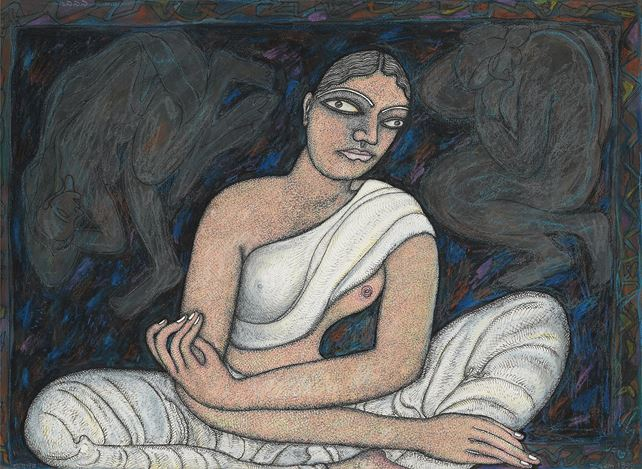 JOGEN CHOWDHURY, Woman Sitting (in White)(1999). Pen, ink and pastel on paper. 50 x 69.5 cm / 19.7 x 27.4 in. CourtesyGalerie Mirchandani + Steinruecke, Mumbai.