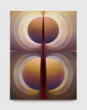 Split Orbs in gray-brown, yellow, purple and carmine by Loie Hollowell contemporary artwork