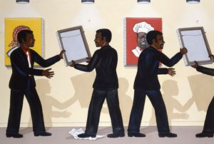 Third World City Council Alderman Remove Pictures At An Exhibition Which They Find Offensive by Roger Brown contemporary artwork painting