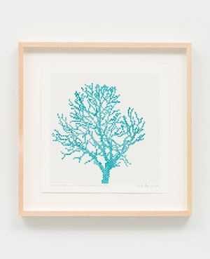 Numbers and Trees: Assorted Trees #7, Turquoise Trees, Tree F by Charles Gaines contemporary artwork works on paper