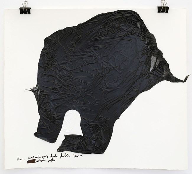 undeclining black plastic lever visible paste by Robert Hood contemporary artwork