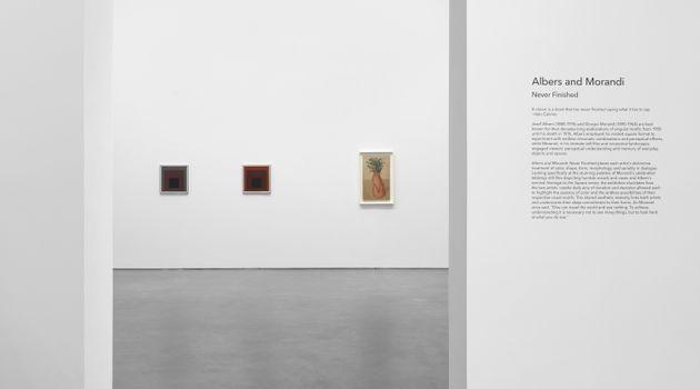 "Albers and Morandi<br><em>Never Finished</em><br><span class=""oc-gallery"">David Zwirner</span>"