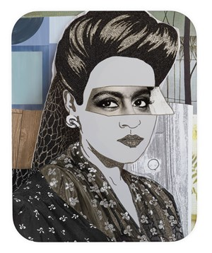 Clarivel with Black Blouse and White Ribbon by Mickalene Thomas contemporary artwork