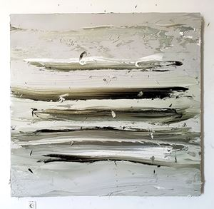 Untitled (Olive Green Deep/Titanium White) II by Jason Martin contemporary artwork