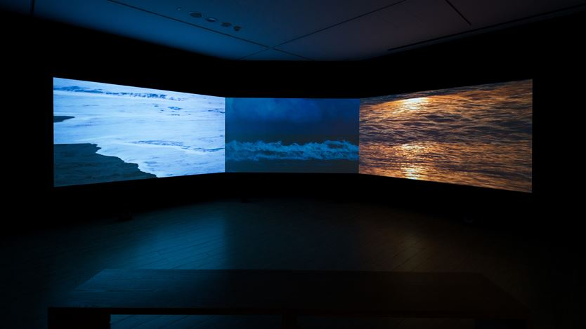 Wu Tsan-Cheng, Taiwan Sound Map Project Edition –Coastline 002,(2016-2018). 3 channel video, multi-channel stereo, dimensions variable. Courtesy Lin & Lin Gallery.
