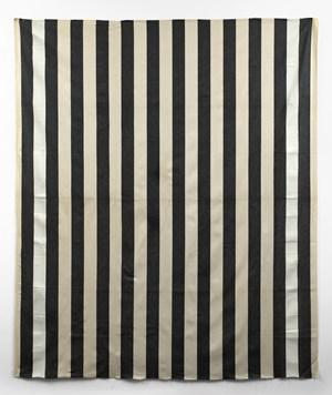 Peinture acrylique blanche sur tissu rayé blanc et noir (White acrylic paint on striped black and white cotton canvas) by Daniel Buren contemporary artwork