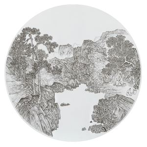 Imitating White Lake by Zhou Chen, Ming Dynasty 臨摹明周臣白潭圖 by Chen Chun-Hao contemporary artwork