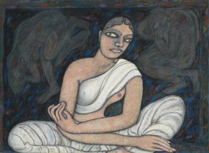 Woman Sitting (in White) by Jogen Chowdhury contemporary artwork