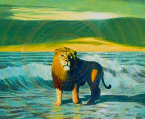 Lonely Lion by Martin Jacobson contemporary artwork