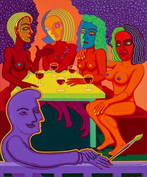 Girls with Red Wine by Christopher Battye contemporary artwork