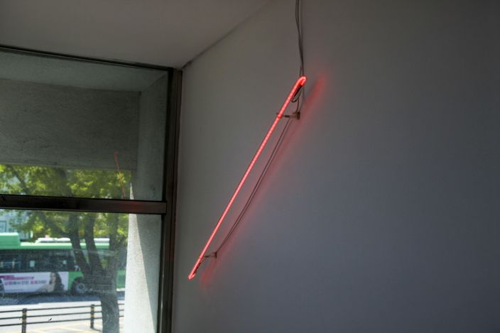 Red Materialsneon sign,Dimensions variable, 2021