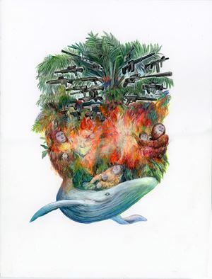 Entanglement Hearts - Aporia - Conundrum about people, whales, orangutans and palm oil by Maki Ohkojima contemporary artwork