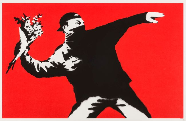 Love is in the Air (Flower Thrower) by Banksy contemporary artwork