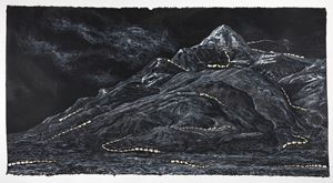 Pen Walking#173 The Picture of Unclouded Moon and Blowing Snow by Shi Jin-Hua contemporary artwork