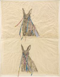 Everywhere (double rabbit) by Kiki Smith contemporary artwork works on paper