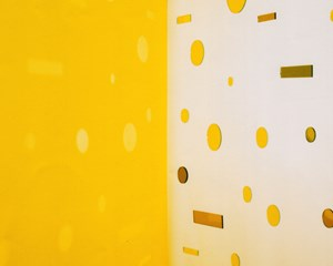 Light Throw (Mirrors) Fold - Yellow by Jacky Redgate contemporary artwork