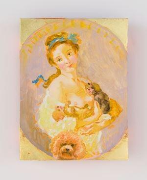 La jeune fille aux petits chiens (d'après Fragonard- vers 1770) by Tursic & Mille contemporary artwork