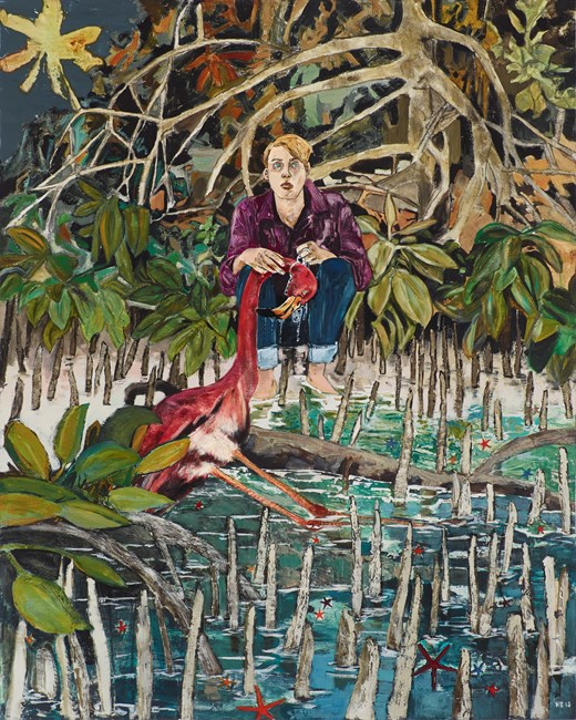 Case study (Kyle, flamingo incident) by Hernan Bas contemporary artwork