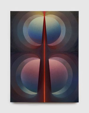 Split orbs in pink, blue and push by Loie Hollowell contemporary artwork