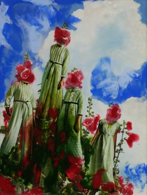 Blooming Hollyhocks by Marnie Weber contemporary artwork