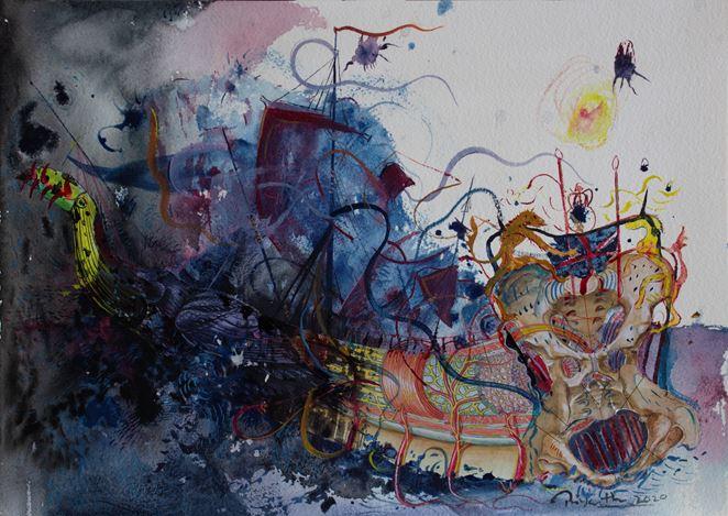 Priyantha Udagedara, Serendib 16, Mixed Media on Paper, 30cm x 42cm.Courtesy Saskia Fernando Gallery.