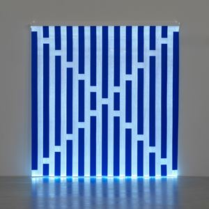 Fibres optiques — Bleu foncé J2 by Daniel Buren contemporary artwork