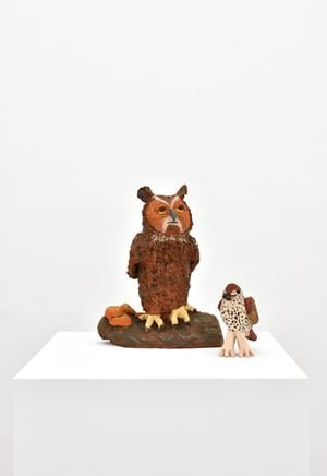 Owl and Thrush by Sally Saul contemporary artwork
