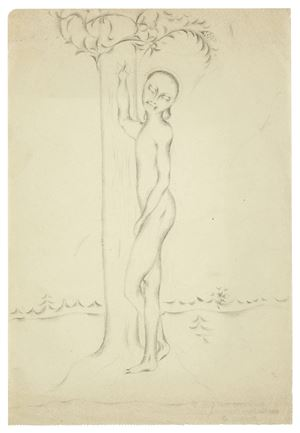 Standing nude boy, leaning against a tree by Otto Meyer-Amden contemporary artwork