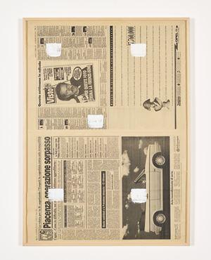 Empreintes de pinceau n°50 à intervalles régulières (30 cm), journal italien by Niele Toroni contemporary artwork