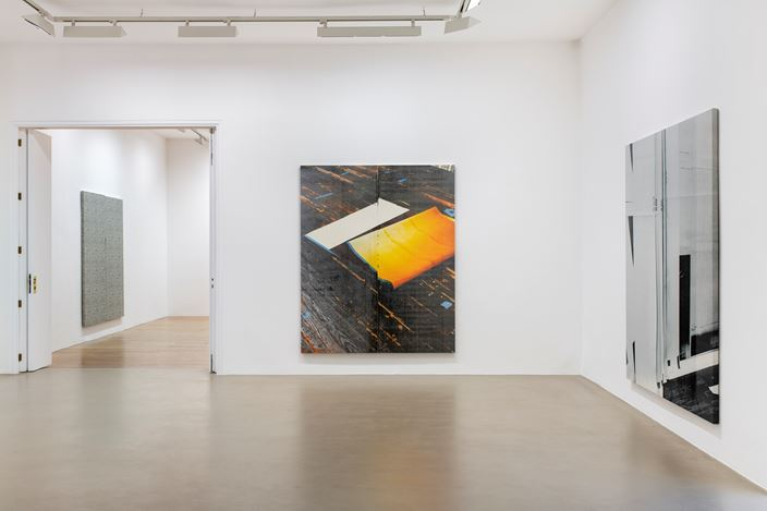 Exhibition view: Wade Guyton, Natural Wine, Galerie Chantal Crousel, Paris (23 February–6 April 2019). Courtesy the artist and Galerie Chantal Crousel, Paris. Photo: Martin Argyroglo.