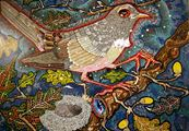 from her nest in the holm-oak tree the nightingale heard him by Del Kathryn Barton contemporary artwork 2