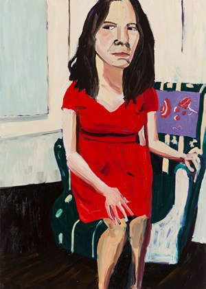 Night Self-Portrait In A Red Dress by Chantal Joffe contemporary artwork