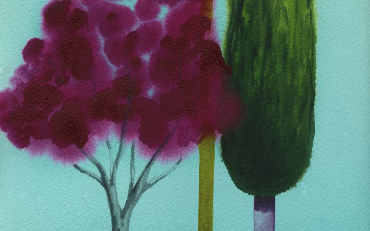 Nicolas Party, Trees (2020) (detail). Watercolour on paper. 30.5 x 22.9 cm. © Nicolas Party. Courtesy the artist and Hauser & Wirth.