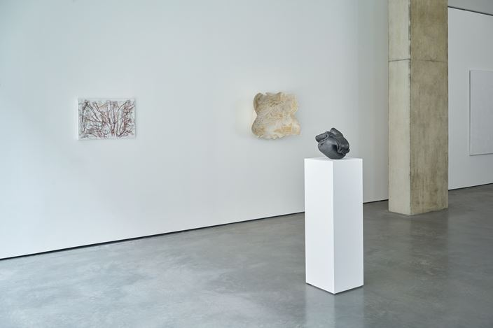 Exhibition view: Ghada Amer, In Black and White, Goodman Gallery, London (2 December 2020–9 January 2021). Courtesy Goodman Gallery.