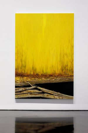 Haze and pier (gold) by Andrew Browne contemporary artwork