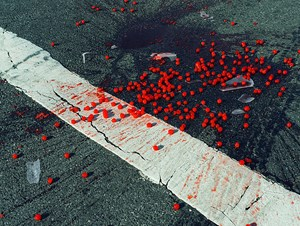 USA. New York City, NY. Cherries spilled on crosswalk. by Christopher Anderson contemporary artwork