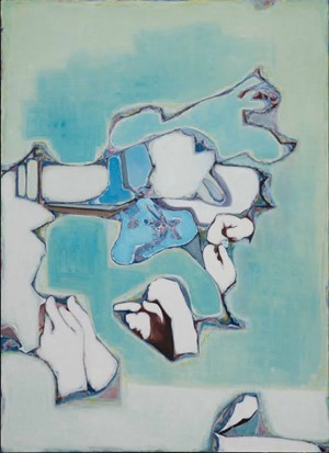 Some Hands And Some Lines, The Background Is blue by Tang Yongxiang contemporary artwork
