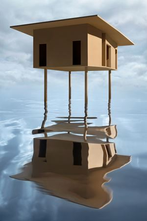 Tan House on Stilts by James Casebere contemporary artwork