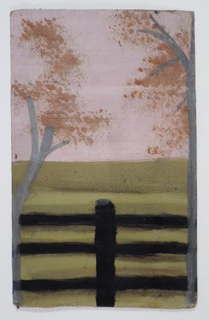 Two Trees with Fence and Pink Sky by Frank Walter contemporary artwork