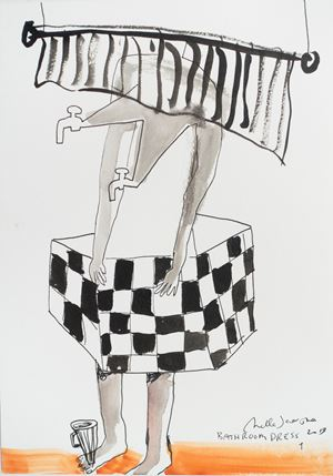Bath room dress 1 by Mella Jaarsma contemporary artwork painting, works on paper, drawing