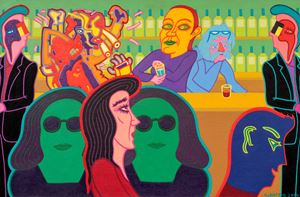 Bar scene with abstract figure no.3 by Christopher Battye contemporary artwork