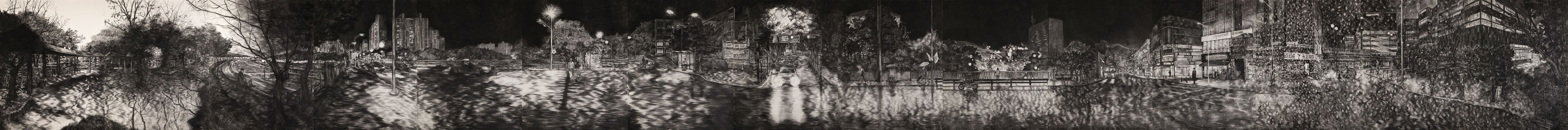Jwa Haesun, The Most Ordinary Stories (2017–2018 panorama view). Charcoal on paper. 161 x 965 cm. Courtesy  Arario Gallery Samcheong, Seoul.