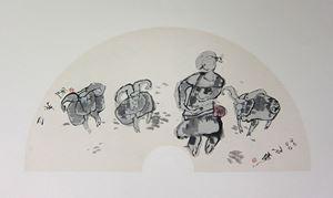 Trio of Goats by Shi Hu contemporary artwork