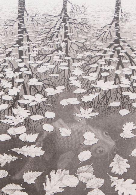 Three Worlds by M.C. Escher contemporary artwork
