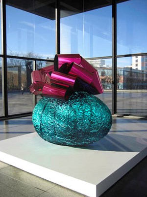 Baroque Egg with Bow (Turquoise/Magenta) by Jeff Koons contemporary artwork