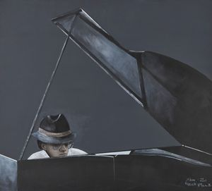 Michel Petrucciani by Sam Nhlengethwa contemporary artwork
